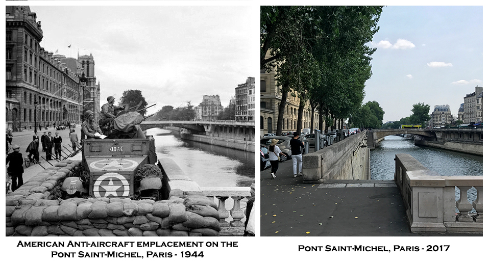 American Anti-aircraft emplacement on thePont Saint-Michel, Paris - 1944