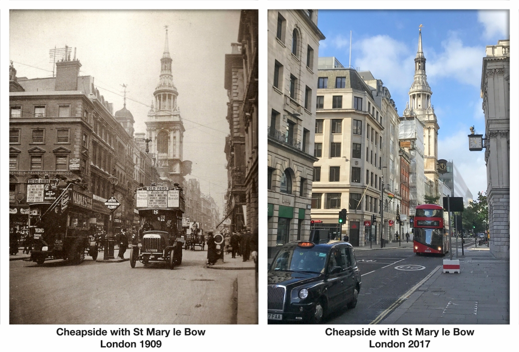 Cheapside with St Mary le Bow London 1909