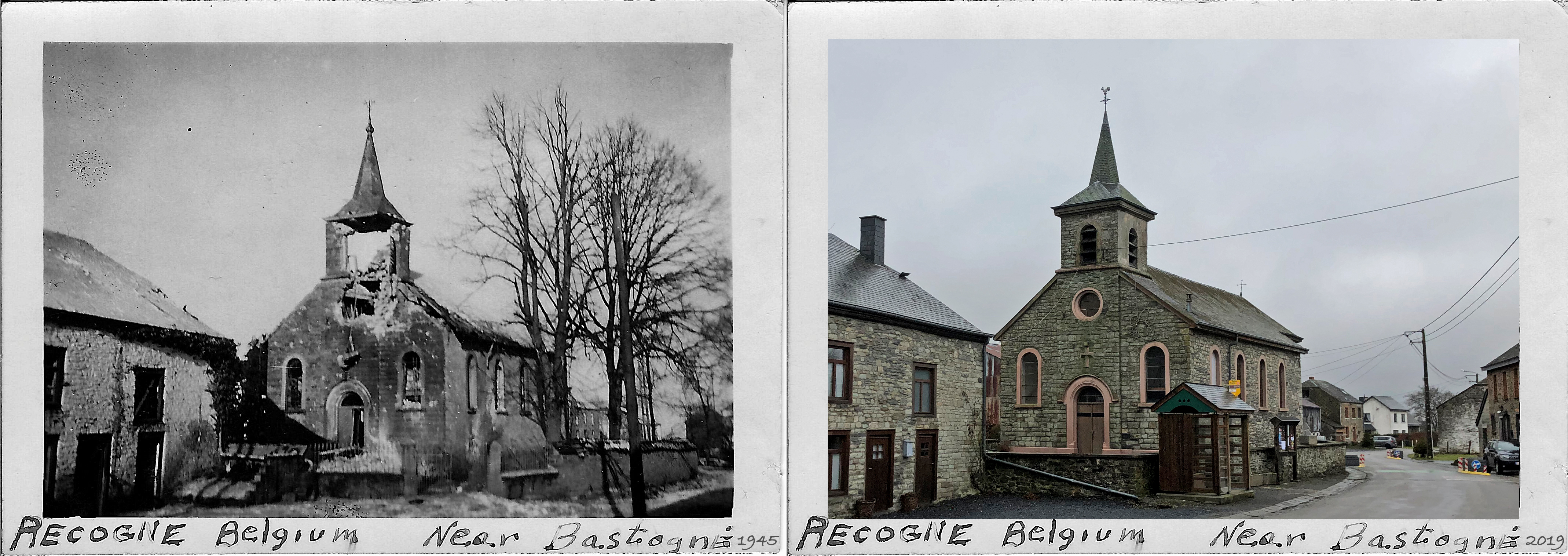 Recogne Near Bastogne Belium Battle of the bulge history then and now 1945-2019