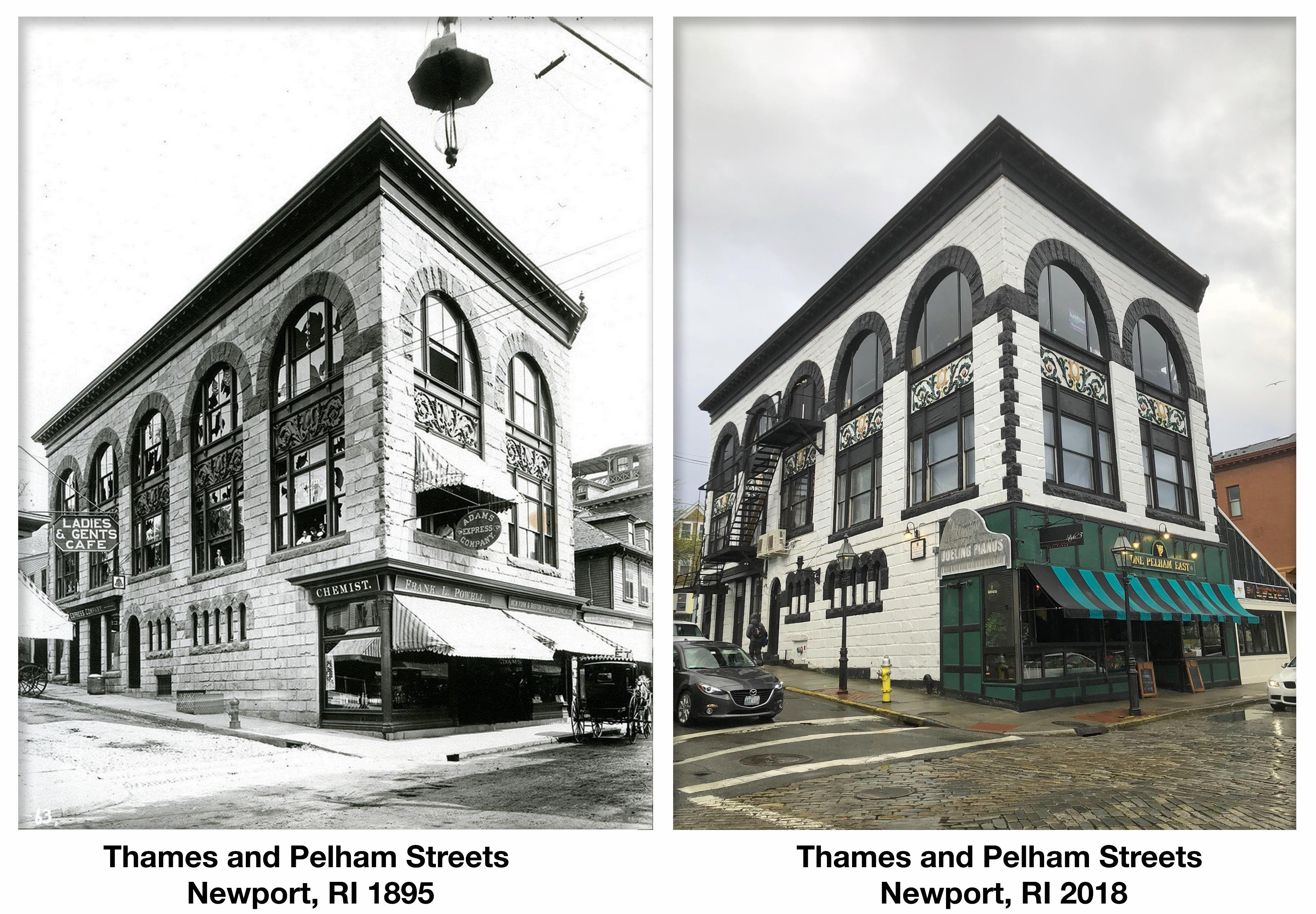 Thames and Pelham Streets, Newport, RI 1895 & 2018