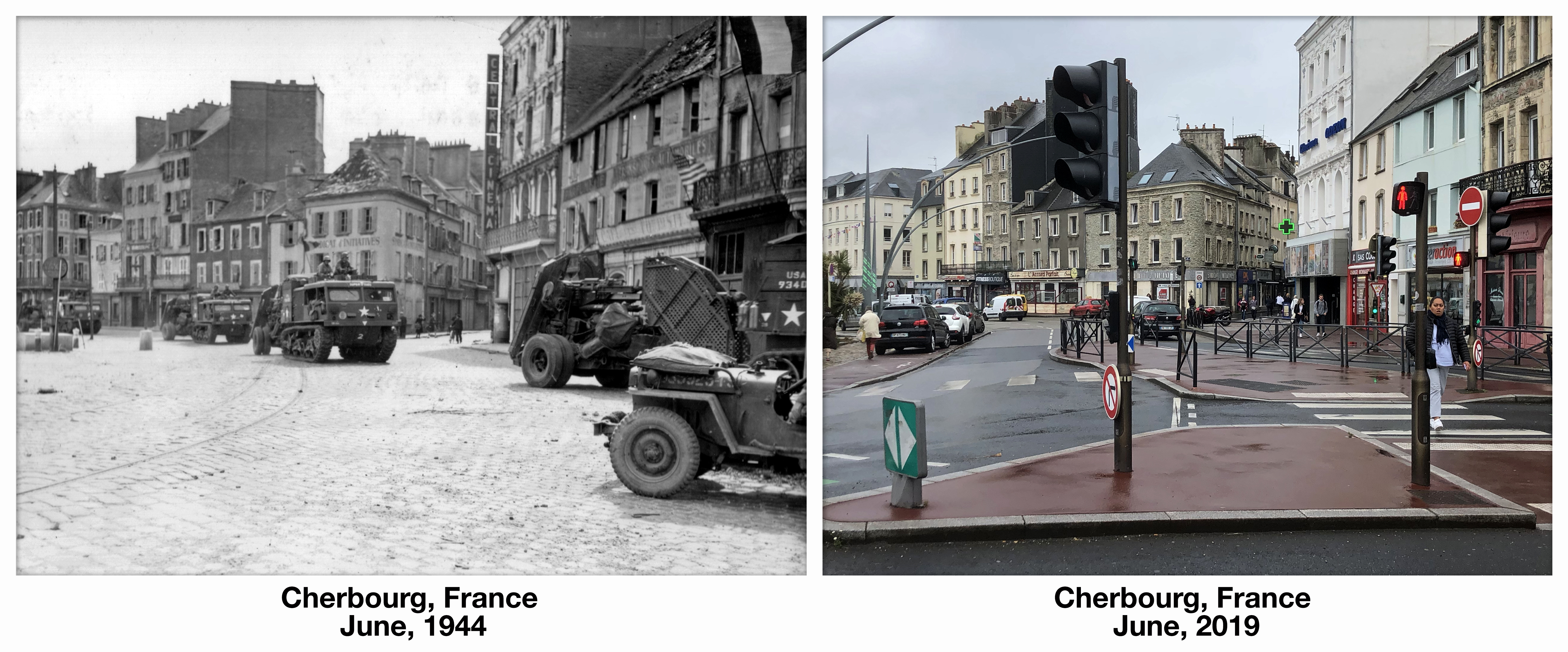 Battle of Cherbourg D-Day before and after then and now Normandy France World War 2