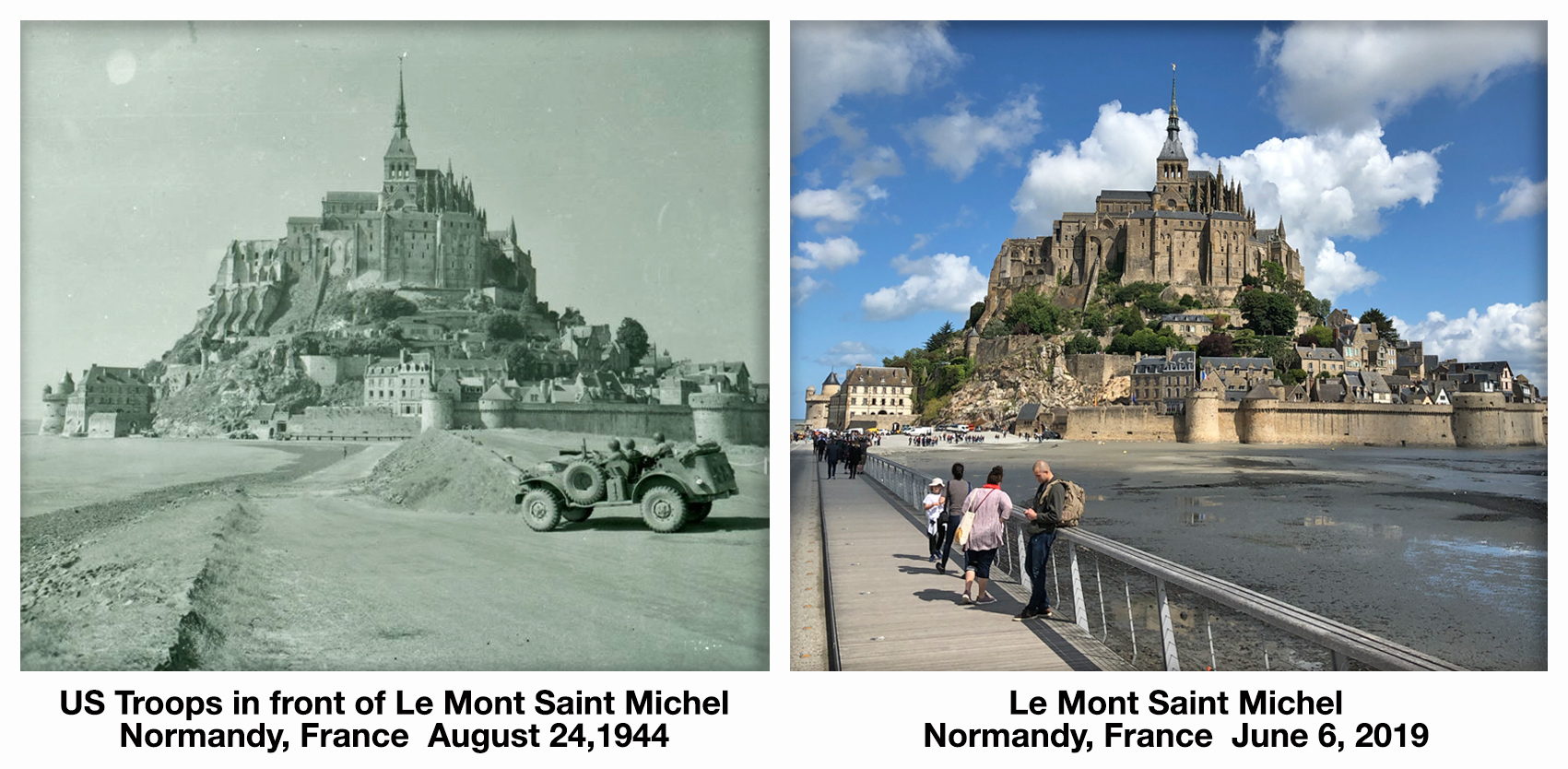 Le Mont Saint Michel D-Day before and after then and now Normandy France World War 2