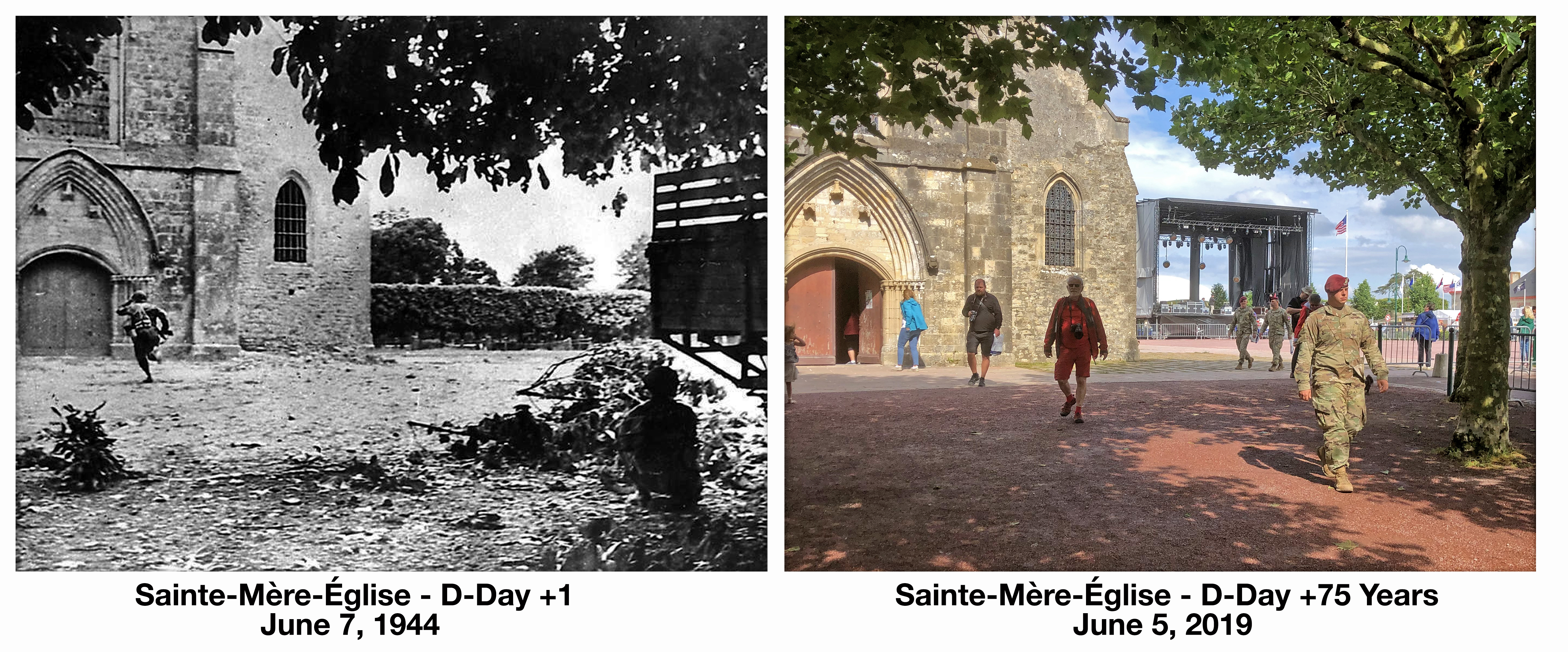 Saint Mere Eglise D-Day +1 before and after then and now Normandy France World War 2